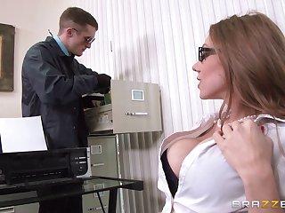 Perfect fake tits secretary Shawna Lenee in stockings fucked