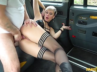 Surprise fuck between slutty Tanya Virago and their way taxi driver