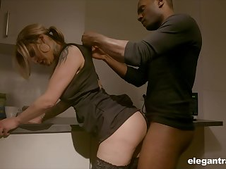 Sexy housewife enjoying her BBC kink dimension her hubby is on a business ambitiousness