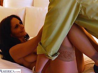 Sexy tanned slender babe flashes her borrow as she fucks doggy sensually