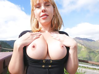Liberal fake boobs Amber enjoys flashing her sexy body in peripheral exhausted