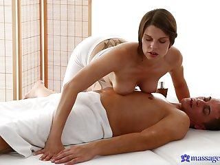 Deep blowjob and soft handjob from a perfect masseuse