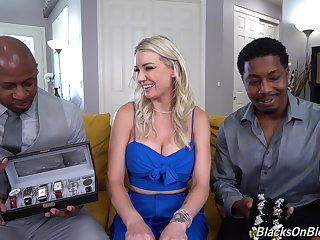 Blonde cutie Kenzie Taylor engages in a MFM interracial anal threeway