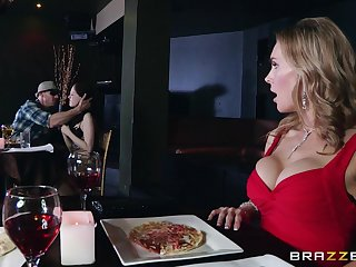 Naughty forty Tanya Tate drops on her knees to give head to a outsider