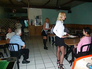 3 anal maids at restaurant