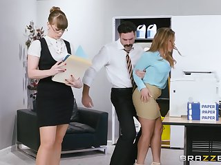 Amazing naked secretary fucks with her big cheese thither pretty rough scenes