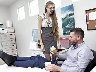 Nerdy secretary finds drenching intriguing to fuck far the boss