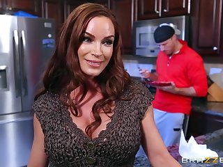 Rough action in the kitchen after materfamilias strips nude