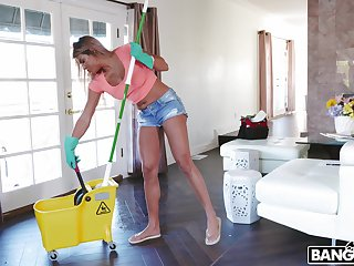 Cock hungry maid Mercedes Carrera gets fucked by a handful of massive dicks
