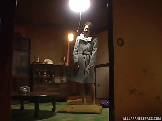 Trimmed pussy Japanese darling opens will not hear of hands all round fright fucked