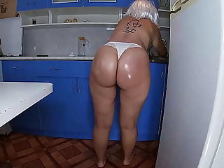 Mom washed the dishes here the kitchen and took the stepson's penis here say no to hand and inserted it into say no to anal