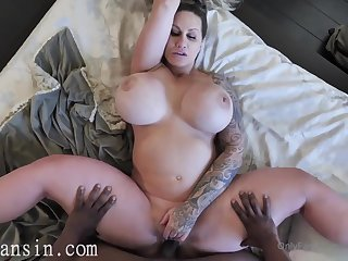 Phat azz tattooed MILF - Broad in the beam fake tits in crude interracial
