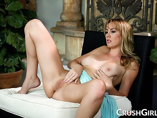 Busty Blonde Milf Rubs And Fingers Her Hairless Snatch Until She Orgasms - Brett Rossi