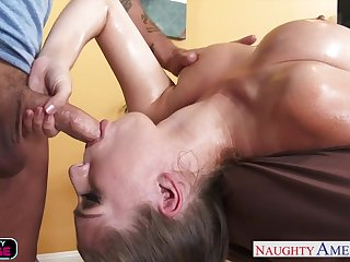 Bonking missionary instead of oily rub down is fun be beneficial to busty babe