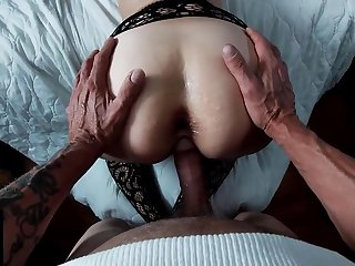 Racy Pussy Mom Wearing Mesh Stockings Doggystyle Creampie