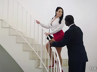 Busty MILF Angela Sallow gets fucked hard by a black lover