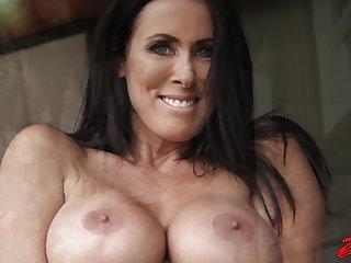 Hardcore fucking with fake boobs wife Reagan Foxx on the sofa