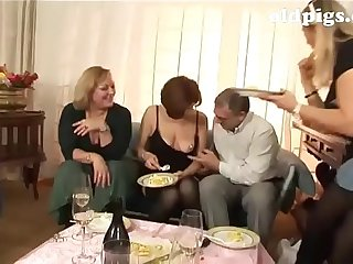 Orgy for a group of of age sluts!