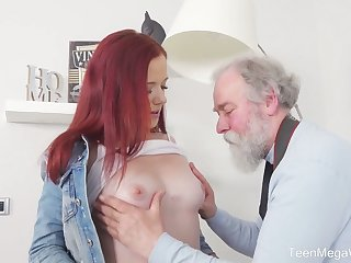 Scalding redhead Tiffani Love flashes her bum and gets fucked by old photographer