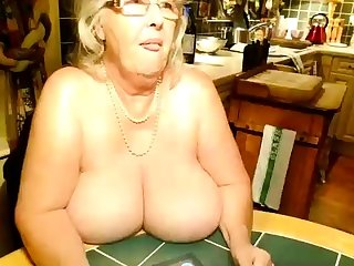OldNanny Mature with big boobs masturbate with Granny