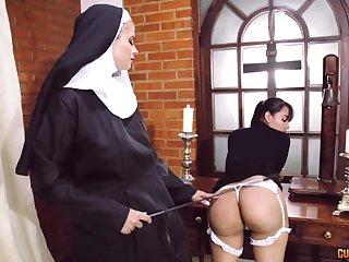 Meaningless nun lesbian talisman with two fabulous women