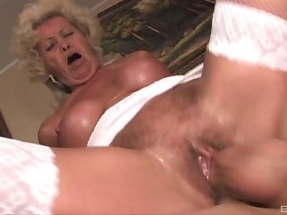Mature Effie wears sexy white undergarments be fitting of fucking without mercy