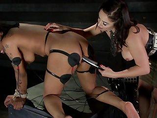 Interracial meldom BDSM scene with adorable Lea Lexis and Sasha Banks