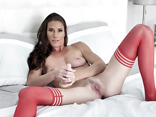 Needy woman beside red stockings, sly webcam pussy special